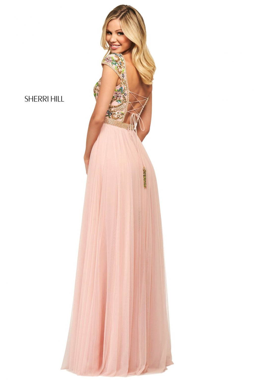This Sherri Hill 53543 A-line gown in blush/multi features a beaded bodice with cap sleeves, an open lace up back and a chiffon skirt.