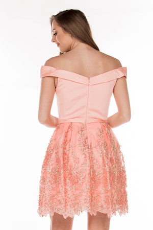 This TN 3034 peach cocktail dress is full of fun with a beaded skirt and off-the shoulder neckline