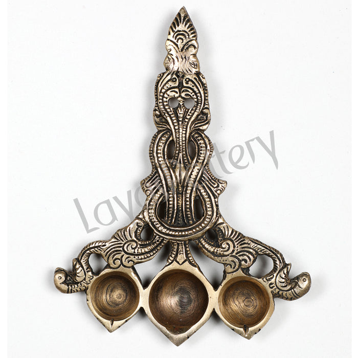 Brass three batti Diya Pooja aarti spoon oil lamp