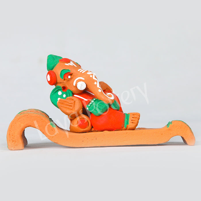 Clay Diwan Ganesha Orange Green