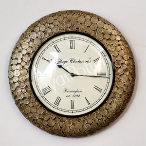 Metallic Coin Design Clock