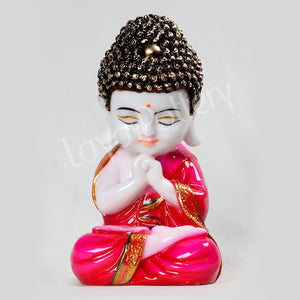 Ceramic Pressed Meditating Buddha Pink Clothing