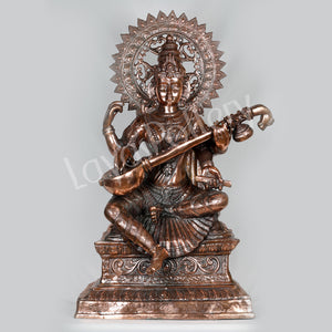 Black Metal Big Saraswathi Statue