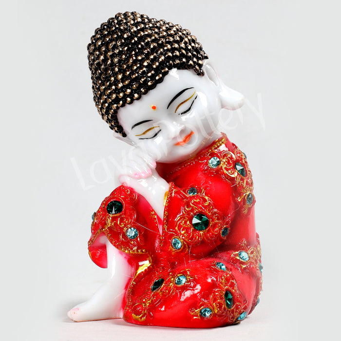 Ceramic Pressed  Red Stone Work Buddha