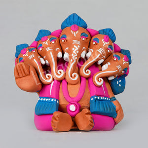Clay Five Face Ganesha Pinkl Blue