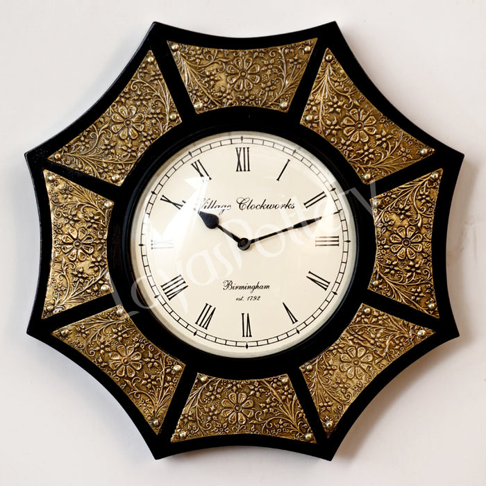 Metallic Hexagon Design Clock