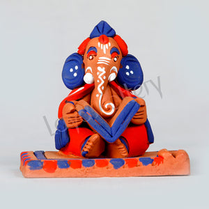 Terracotta Reading Ganesh Red and Blue