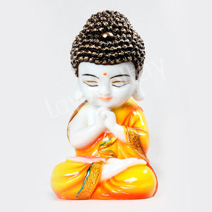 Ceramic Pressed Meditating Buddha Yellow Clothing