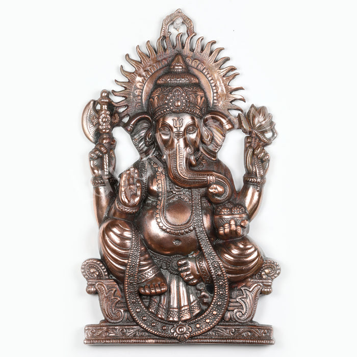 Black Metal Diwan Ganesha Plate Wall Decor