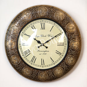 Metallic Zodiac Design Clock