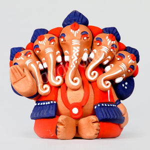 Clay Five Face Ganesha Orange Blue
