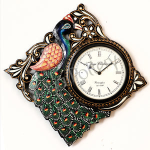 Wooden Diamond Single Peacock Clock