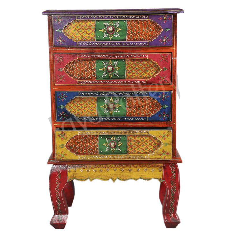 Wooden Painted Four Drawer  Cabinet side table