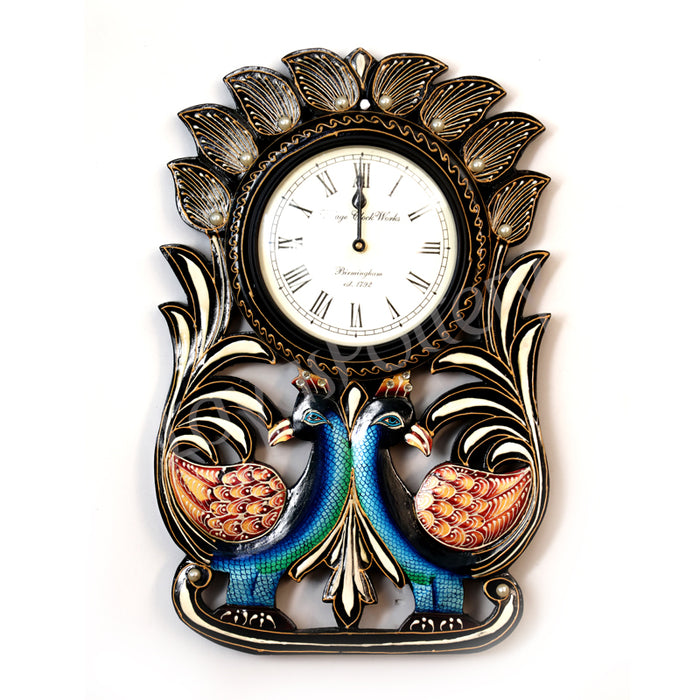 Wooden Circle Down Double Opposite Facing Peacock Clock