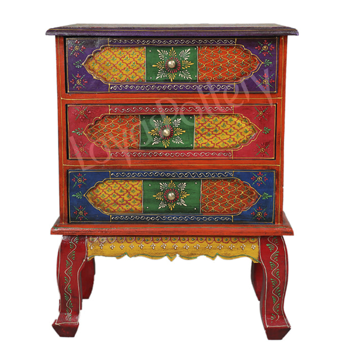 Wooden Painted Three Drawer Cabinet side table