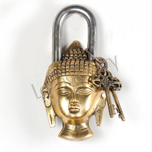 Brass Buddha face door lock with antique keys