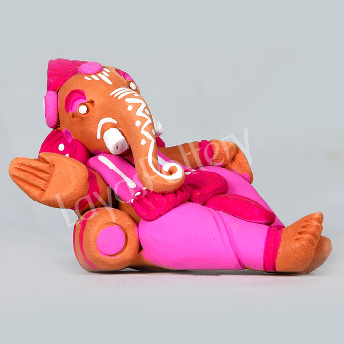 Clay Ganesha Resting Without Bed Pink