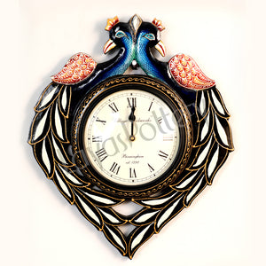Wooden Double Opposite Facing Peacock Clock