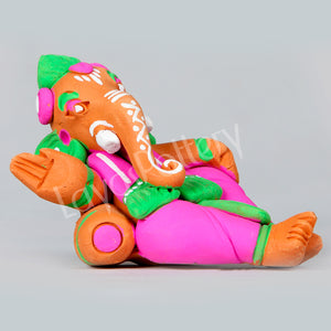 Clay Ganesha Resting Without Bed Pink Green