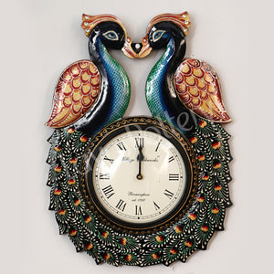 Wooden Double Peacock Facing Each Other Clock