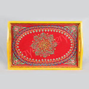 Wooden serving  Red Tray with yellow border.