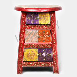 Wooden Round Top Stool Three Drawer side table
