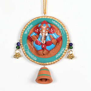 Clay Ganesha Wall Hanging Circle Red Blue