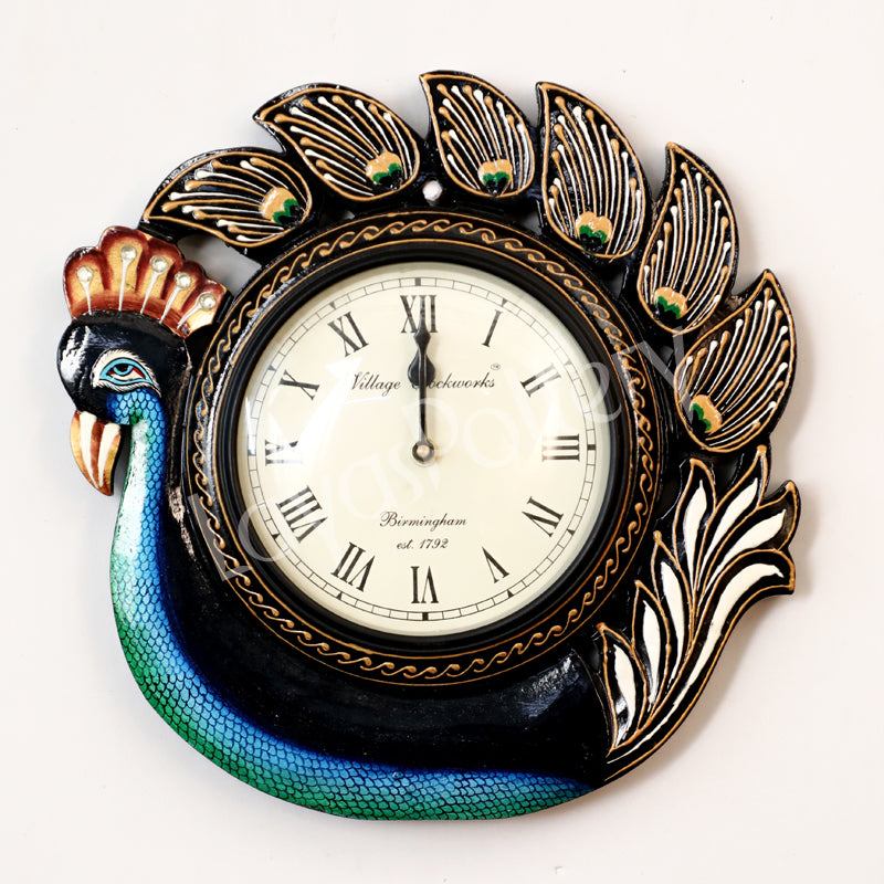 Wooden Down Single Peacock Clock