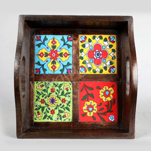 Wooden Small Tray with 4 tiles