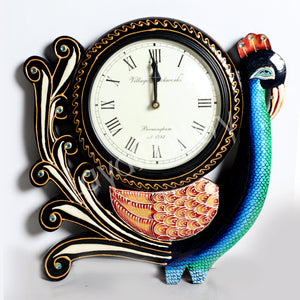 Wooden Single Peacock Clock