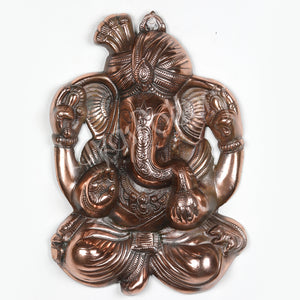 Black Metal Ganesha Pagidi Wall Hanging