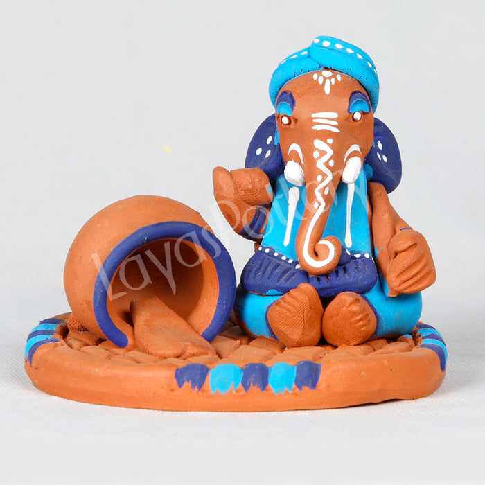 Clay Ganesha With Butter Pot Blue