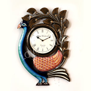 Wooden Single Peacock With Leaf Clock