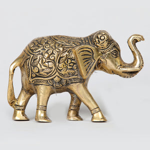 "Brass Hand Carved Elephant Statue 4"" Tall"