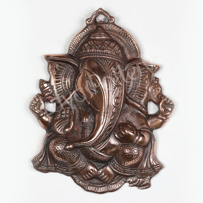 Black Metal Ganesha Wall Hanging Leaf Style