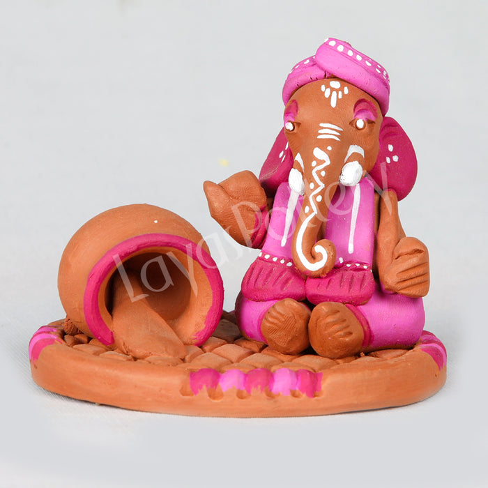 Clay Ganesha With Butter Pot Pink