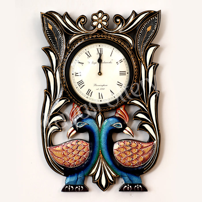Wooden Square Down Double Opposite Facing Peacock Clock