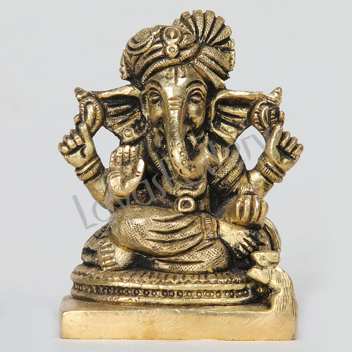 "Brass Ganesha Lord Ganapathi with pagadi 4"" Tall"