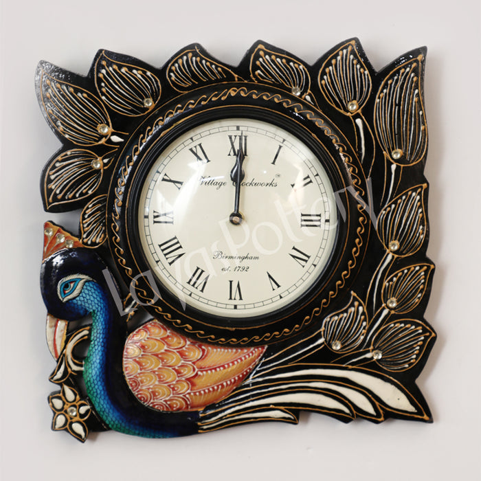 Wooden Square Single Peacock Clock