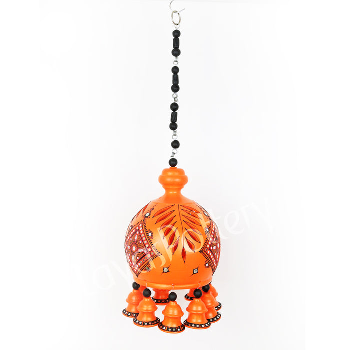 Terracoota Handpainted Doom Bell Large Orange