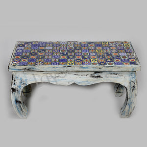 Wooden Blue Tile coffee Table, bench