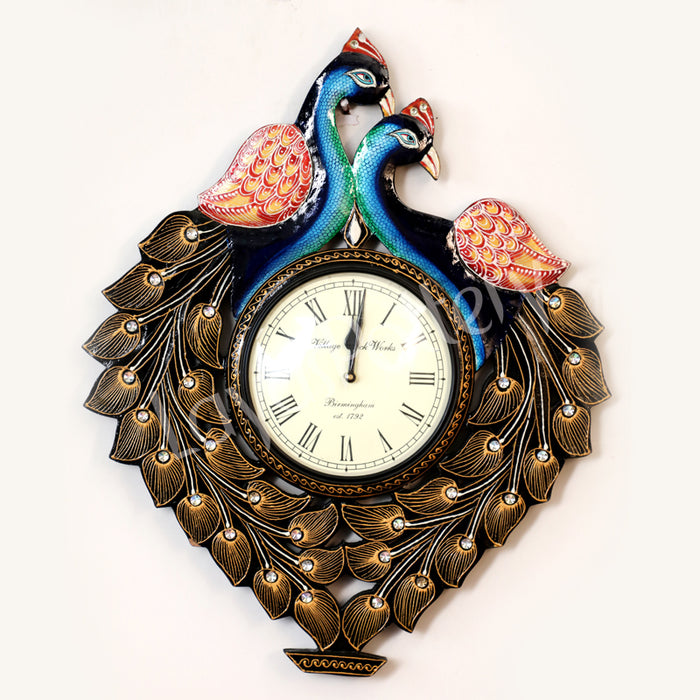 Wooden Up Double Same Facing Peacock Clock