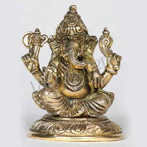 "Brass Ganesh Idol statue in auspicious posture 5"" Tall"