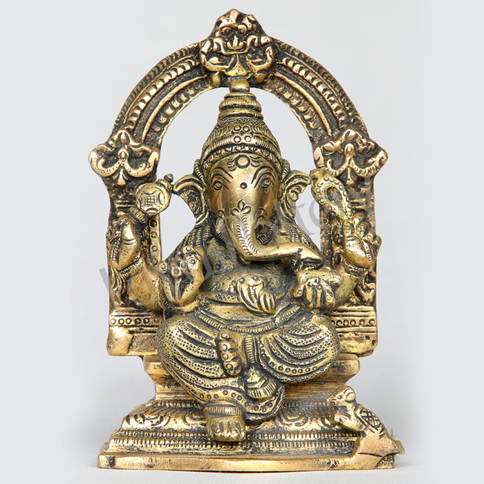 "Brass Ganesha Ganapathi with arch 4.5"" Tall"