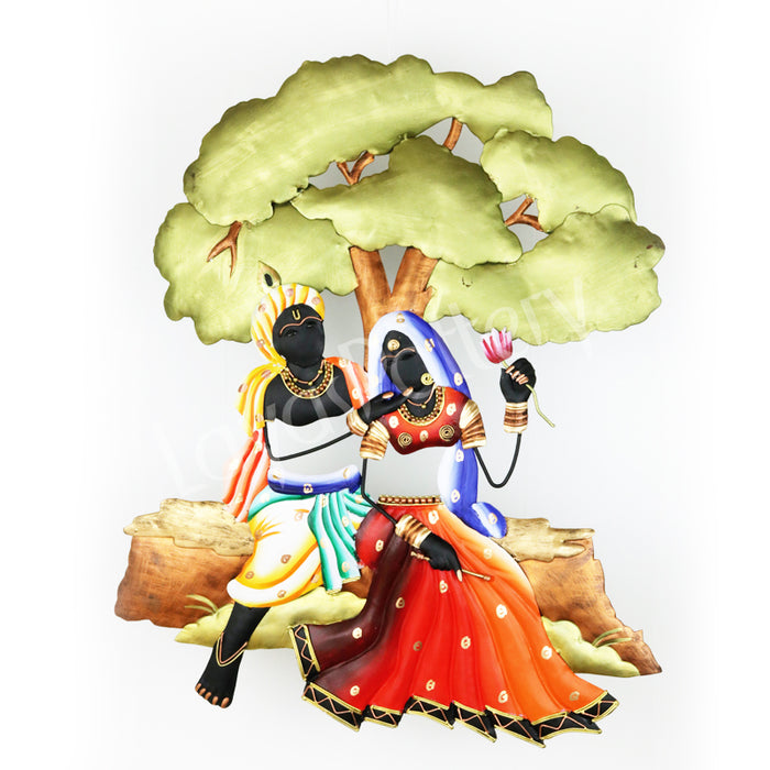 Wrought Iron Radha Krishna Under Tree