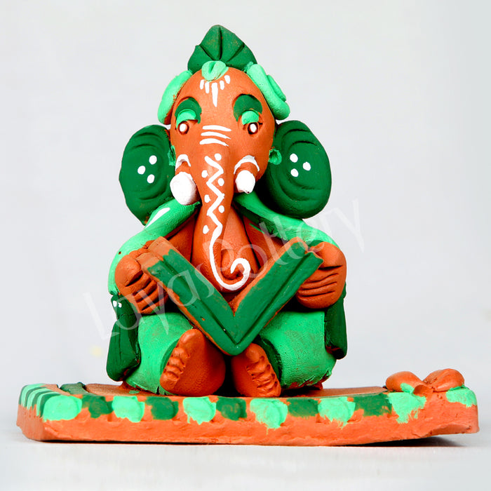 Clay Reading Ganesha Green