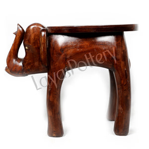 Wooden Ceramic Tiles Fitted Elephant Stand