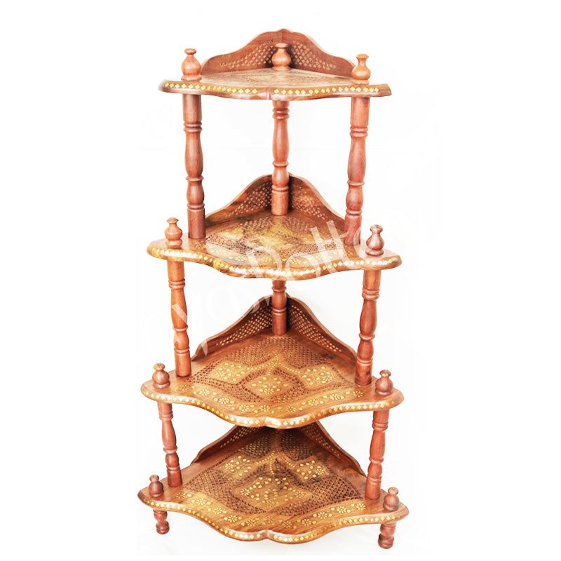 Four Tier Corner Wooden Stand