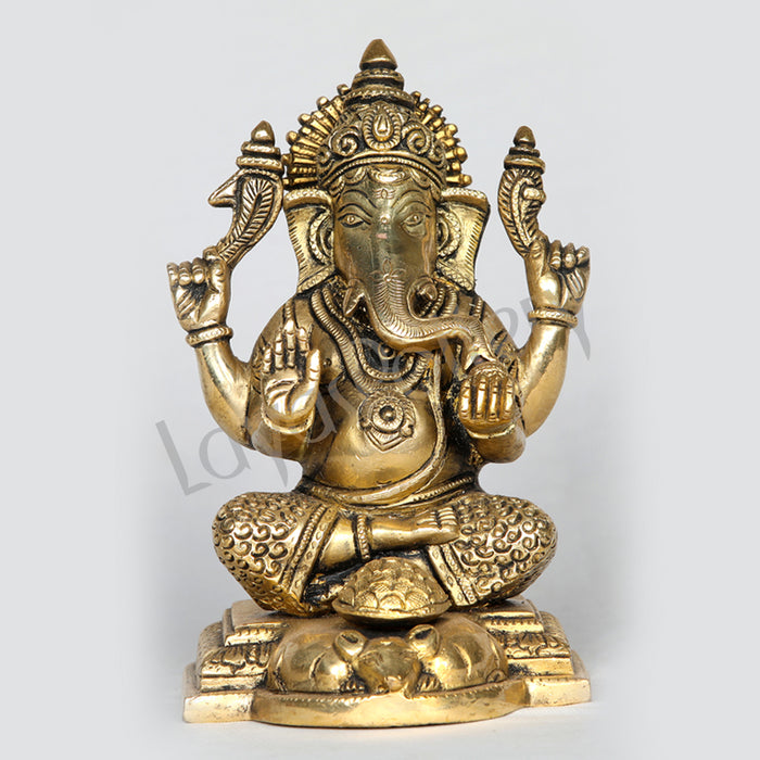 "Brass Ganesha Lord Ganapathi sitting posture 8"" Tall"