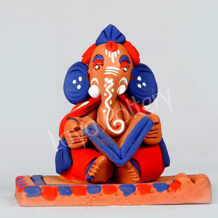 Clay Reading Ganesha Blue Orange